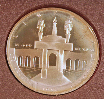1984 Prestige Set commemorative silver dollar obverse