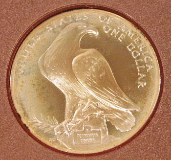 1984 Prestige Set commemorative silver dollar reverse