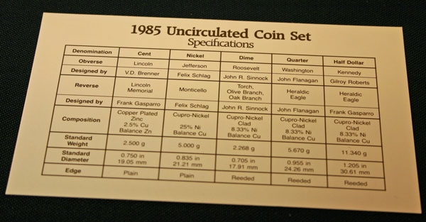 1985 Mint Set coin specifications large view