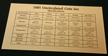 1985 Mint Set coin specifications