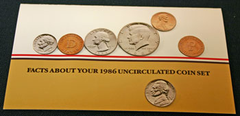 1986 Mint Set front of insert