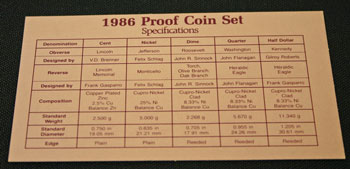 1986 Proof Set Coin Specifications