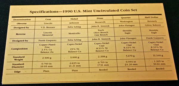 1990 Mint Set coin specifications large view