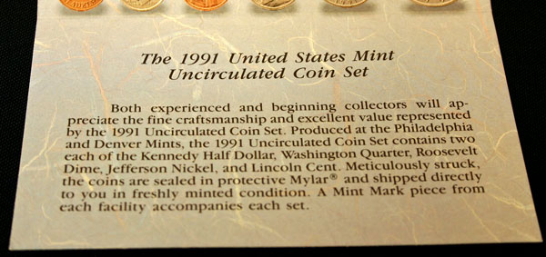 1991 Mint Set bottom of insert large view