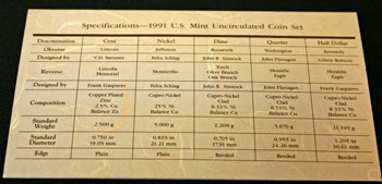 1991 Mint Set coin specifications