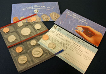 1991 Mint Set opened showing coins and contents