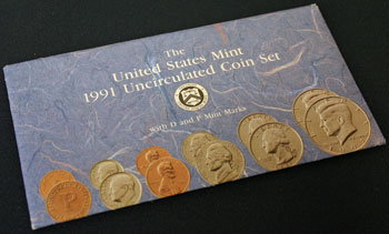 1991 Mint Set package of coins