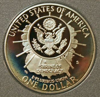 1991 Prestige Set commemorative silver dollar reverse