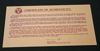 1991 Proof Set Certificate of Authenticity