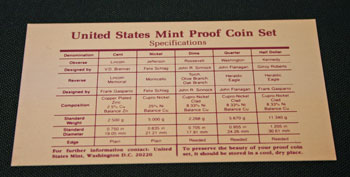 1991 Proof Set coin specifications