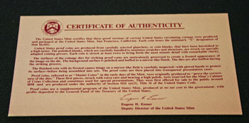 1992 Proof Set Certificate of Authenticity