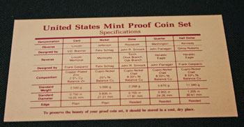 1992 Proof Set Coin Specifications