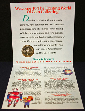 Young Collectors Edition Coin Sets 1993 Bill of Rights inside package