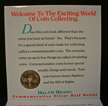 Young Collectors Edition Coin Sets 1993 Bill of Rights coin package reverse