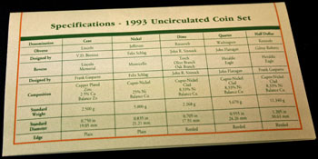 1993 Mint Set coin specifications