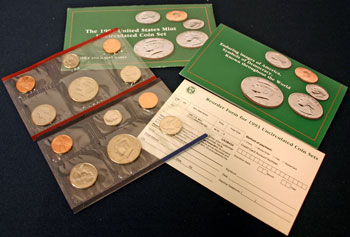1993 Mint Set opened showing coins and contents