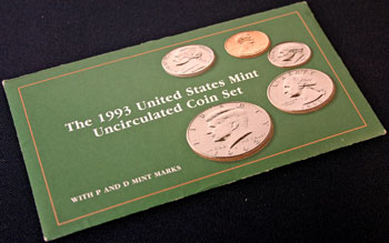 1993 Mint Set package of coins