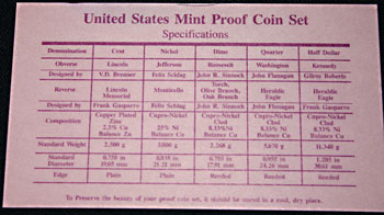1993 Proof Set specifications