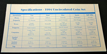 1994 Mint Set coin specifications