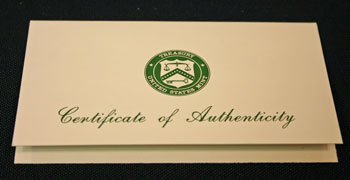 1994 Proof Set Certificate of Authenticity front
