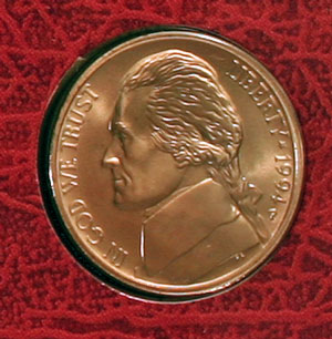 1994 Thomas Jefferson nickel obverse