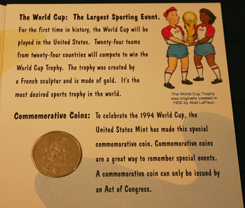 Young Collectors Edition Coin Sets 1994 World Cup Soccer clad coin package contents 1