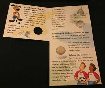Young Collectors Edition Coin Sets 1994 World Cup Soccer clad coin package unfolded inside