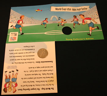 Young Collectors Edition Coin Sets 1994 World Cup Soccer clad coin package unfolded outside