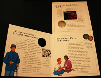 Young Collectors Edition Coin Sets 1995 Civil War Battlefield coin package unfolded inside