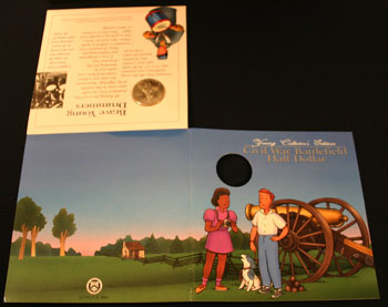 Young Collectors Edition Coin Sets 1995 Civil War Battlefield coin package unfolded outside
