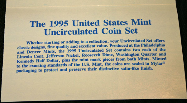 1995 Mint Set bottom of insert large view