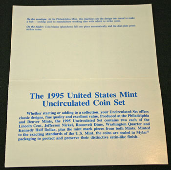 1995 Mint Set inside of insert