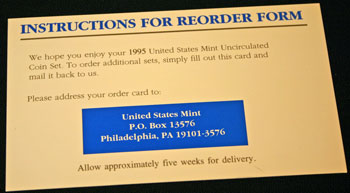 1995 Mint Set reorder form instructions