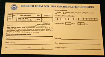 1995 Mint Set reorder form