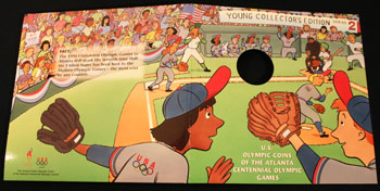 Young Collectors Edition Coin Sets 1996 Atlanta Olympics Baseball coin package cover art