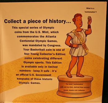 Young Collectors Edition Coin Sets 1996 Atlanta Olympics Basketball coin package contents 2
