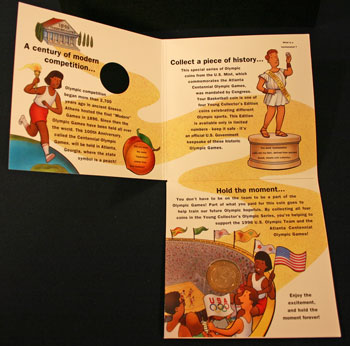 Young Collectors Edition Coin Sets 1996 Atlanta Olympics Basketball coin package unfolded inside