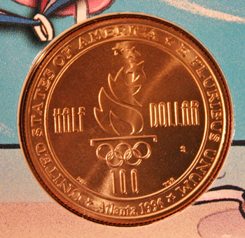 Young Collectors Edition Coin Sets 1996 Atlanta Olympics Swimming clad half dollar reverse