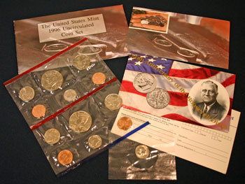 1996 Mint Set opened showing coins and contents