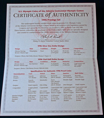 1996 Prestige Set certificate of authenticity