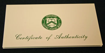 1996 Proof Set Certificate of Authenticity