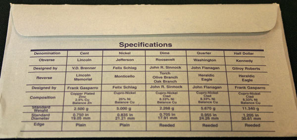 1998 Mint Set coin specifications large view