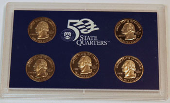 1999 Proof Set obverse of five quarters proof coins