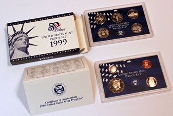 1999 Proof Set opened showing coins and contents