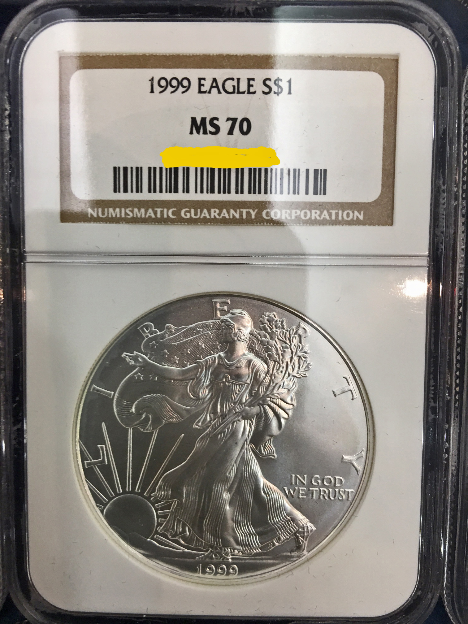 1999 Silver American Eagle Dollar Coin obverse MS-70
