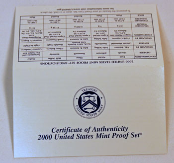 2000 Proof Set certificate of authenticity outside