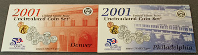 2001 Mint Set front of Denver and Philadelphia inserts