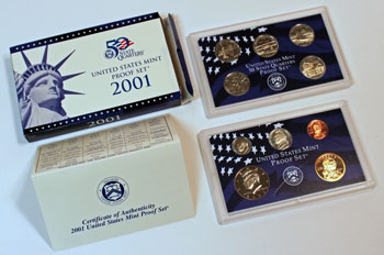2001 Proof Set opened showing proof coins and contents