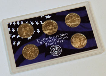 2001 Proof Set reverse images of quarter proof coins