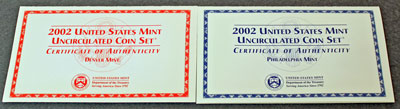 2002 Mint Set front of insert describing uncirculated coins